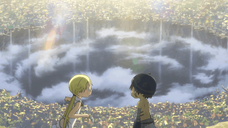 Riko and Reg standing on top of a hill overlooking the city of Orth, and the Abyss.