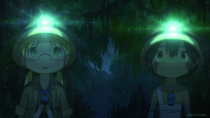 Riko and Reg in the dark of the Forest of Temptation, using their hats for light.