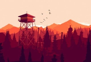Firewatch - a beautiful forest sunset with a watchtower
