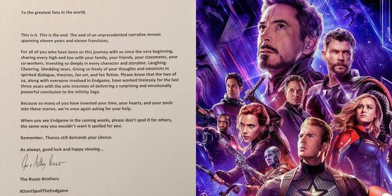 Russo brothers letter about spoilers