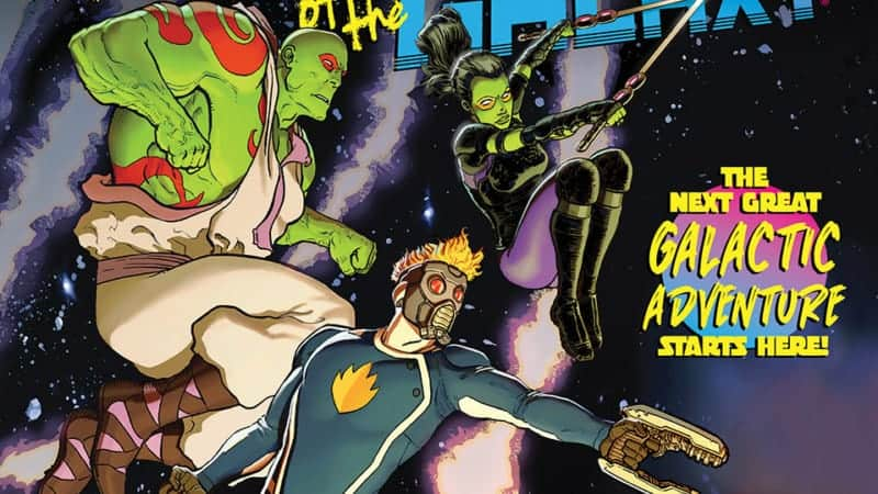 Star-Lord, Gamora, and Drax fly in space