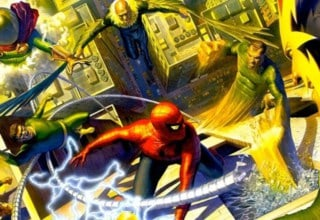 A hyper realistic portrait of Marvel's Spider-Man fighting the Sinister Six
