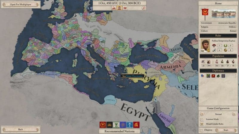 IMPERATOR select screen Rome