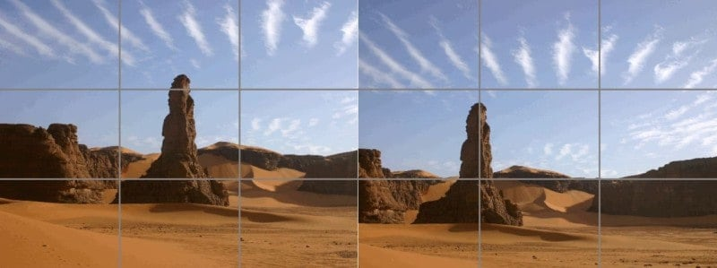 A comparison between a center-aligned photo and one conforming to the rule of thirds