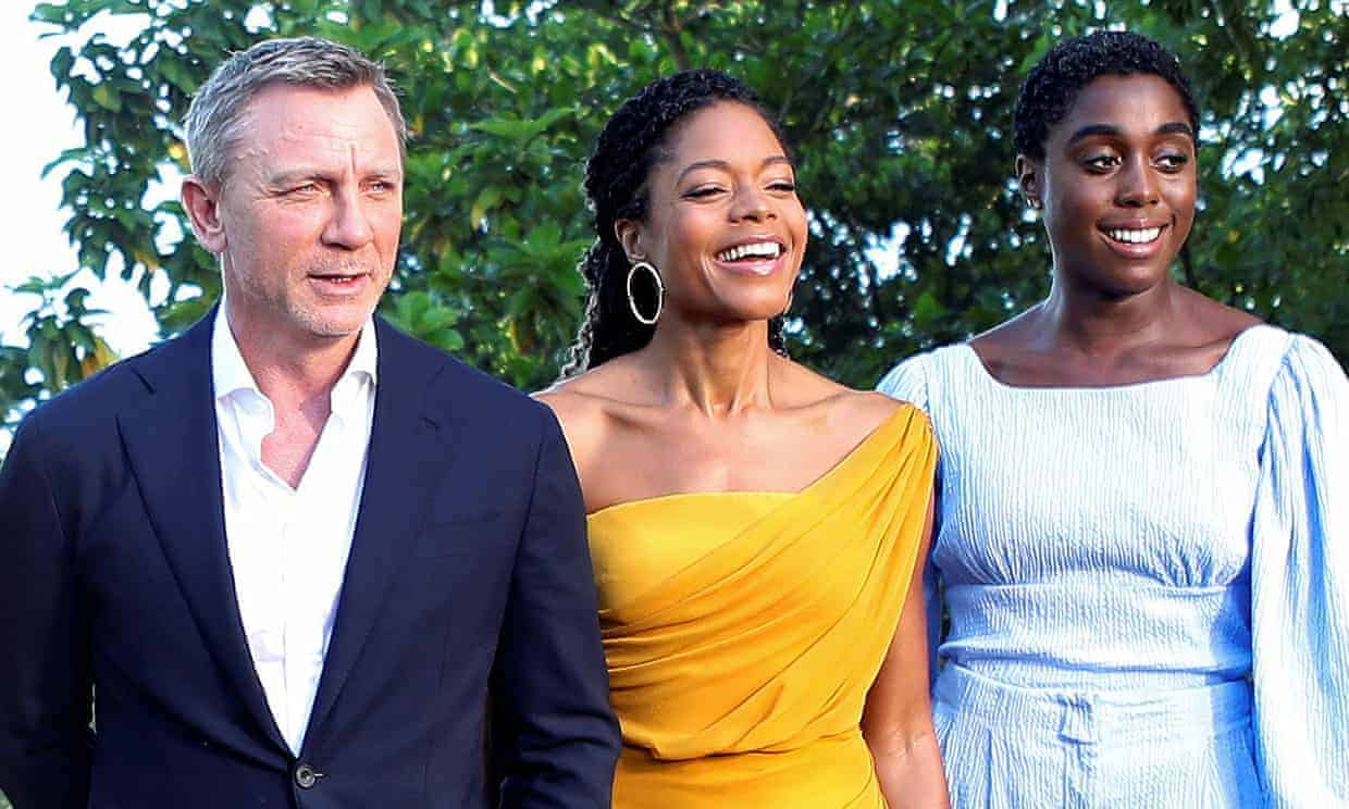 Lashana Lynch, the new 007, with Daniel Craig and Naomie Harris